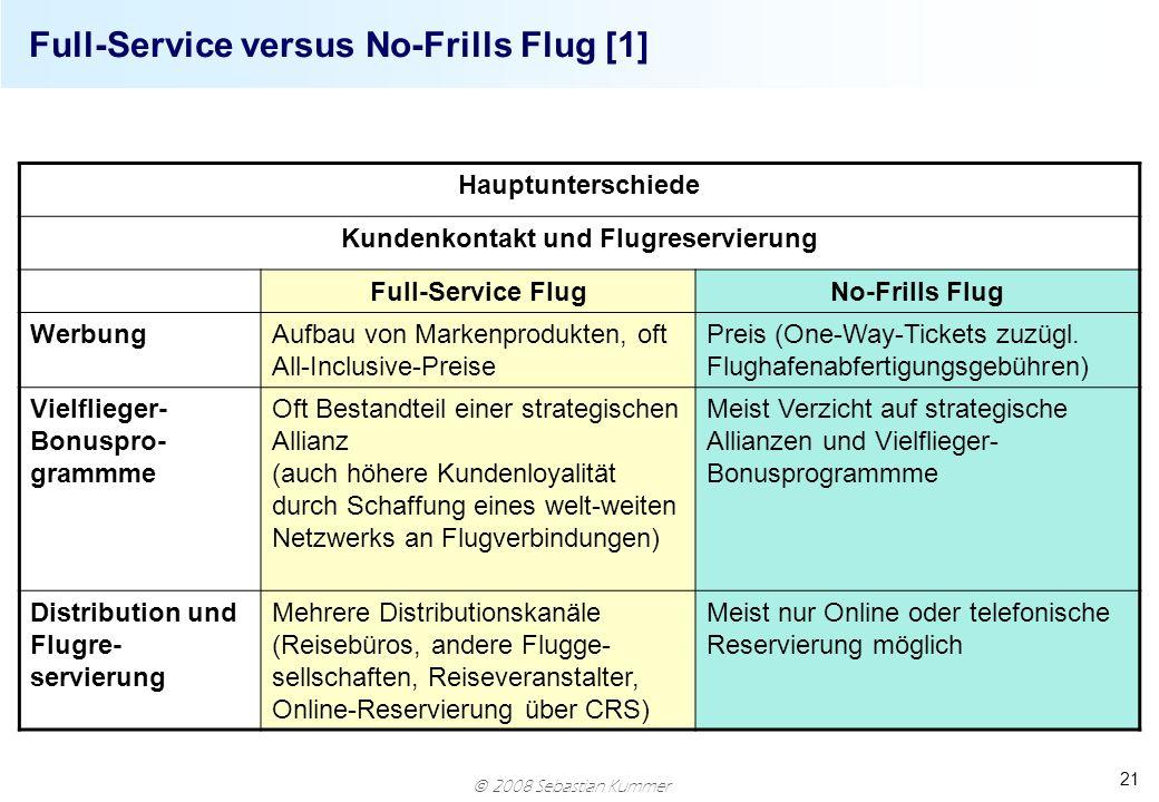 Full-Service versus No-Frills Flug [1]